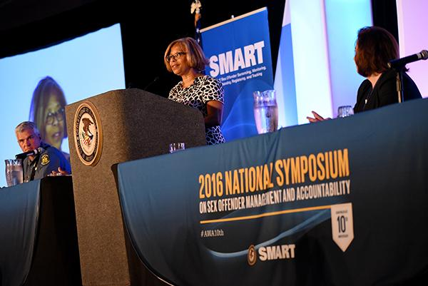The Honorable Karol V. Mason, Assistant Attorney General, Office of Justice Programs, addresses the 2016 National Symposium.